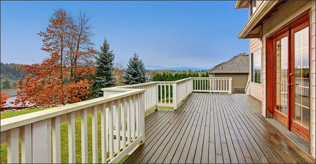 Deck and French doors depicting backyard accessibility
